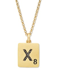 Scrabble 14K Gold Over Sterling Silver Black Diamond Accent 'X' Initial Pendant Necklace
