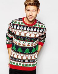 Asos Christmas Jumper With All Over Festive Pattern Blue