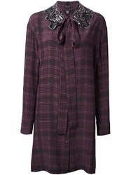 Marc Jacobs Embellished Collar Shirt Dress Pink Purple