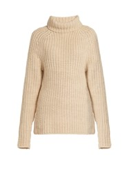 Tibi Roll Neck Ribbed Knit Wool Sweater Beige