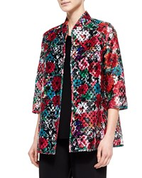 Caroline Rose 3 4 Sleeve Embroidered Organza Jacket Women's Multi Black
