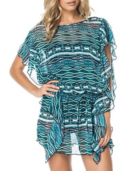 Jessica Simpson Geometric Print Flutter Cover Up Navy Multi