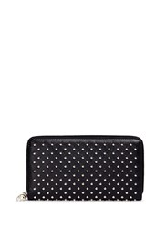 Alexander Mcqueen Skull Charm Stud Leather Continental Wallet Black