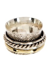 Mistraya Jewelry Sterling Silver And 14K Yellow Gold Plated Hammered Spinner Ring Metallic