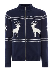 Gant Men's Reindeer Zip Through Knitted Jumper Navy