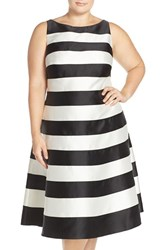 Plus Size Women's Adrianna Papell Stripe Bateau Neck Fit And Flare Dress