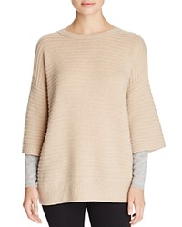 Magaschoni Ribbed Cashmere Layered Effect Sweater Chestnut Mouline Stone