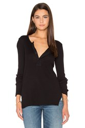 Stateside 2X1 Slub Rib Long Sleeve Henley Tee Black