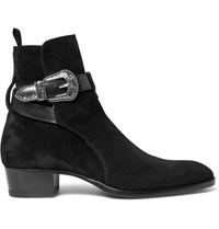 Saint Laurent Leather Trimmed Suede Jodhpur Boots Black