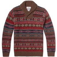 Jamiesons Of Shetland Jamieson's Of Shetland Jacquard Fair Isle Shawl Neck Knit Brown And Red