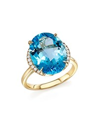 Bloomingdale's Blue Topaz Oval Ring With Diamonds In 14K Yellow Gold Blue White