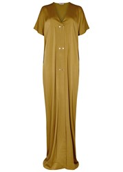 Lanvin Mustard Studded Satin Crepe Gown Yellow