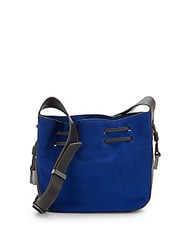 Halston Suede Mini Drawstring Crossbody Cobalt