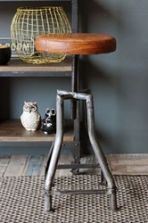 Leather Top Adjustable Stool