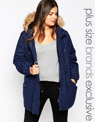 Junarose Padded Zip Detail Parka With Fur Trim Navy