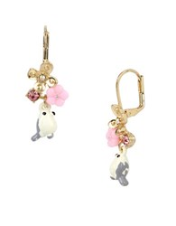 Betsey Johnson Faceted Stone Bird And Flower Cluster Drop Earrings White