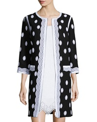 Andrew Gn Embroidered Tweed Zip Front Topper Coat Black White