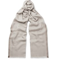 Loro Piana Melange Cashmere And Silk Blend Scarf Camel