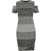 River Island Womens Ri Plus Grey Stripe Cold Shoulder Dress
