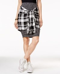 Material Girl Juniors' Plaid Wrap Front Pencil Skirt Only At Macy's Charcoal C