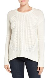 Halogenr Women's Halogen Cable Knit Wool And Cashmere Sweater Ivory Cloud