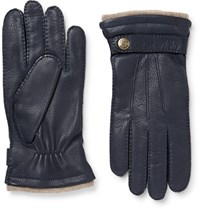 Dents Gloucester Cashmere Lined Full Grain Leather Gloves Navy
