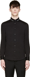 Diesel Black Poplin And Knit S Bocio Shirt