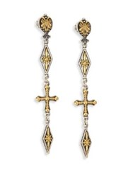 Konstantino Penelope Cross Drop Earrings Silver Gold