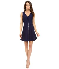 Adelyn Rae Fit Flare Dress W Front Zipper Navy Women's Dress