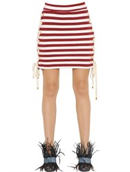 House Of Holland Striped Lace Up Cotton Mini Skirt
