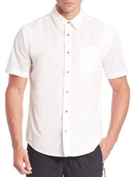 Madison Supply Short Sleeve Button Front Shirt White