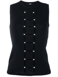 Versus Cut Off Detail Sleeveless Blouse Black
