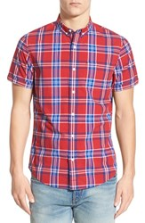 Men's 1901 'Kinney' Plaid Short Sleeve Woven Shirt Red Couture Bentel Plaid