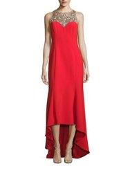 Marchesa Beaded Hi Lo Crepe Gown Red