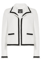 Boutique Moschino Two Tone Boucle Jacket White