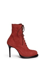 Ann Demeulemeester Lace Up Suede Stiletto Boots Red