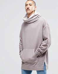 Asos Oversized Longline Funnel Neck Hoodie In Oil Wash Pale Lilac Pink