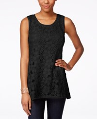 Styleandco. Style And Co. Petite Sleeveless Lace Swing Top Only At Macy's Deep Black