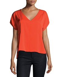 Milly Short Sleeve V Neck Stretch Silk Blouse Fire Red