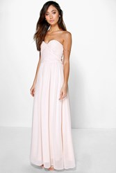 Boohoo Pleated Chiffon Top Bandeau Maxi Dress Blush