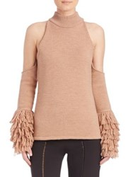 Jonathan Simkhai Loopy Yarn Cold Shoulder Pullover Nude