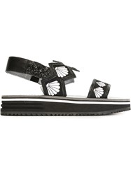 Markus Lupfer Slingback Shell Embroidery Sandals Black