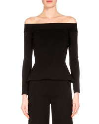 Roland Mouret Off The Shoulder Long Sleeve Top Black