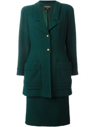 Chanel Vintage Woman Skirt Suit Green