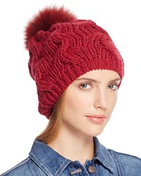 Echo Beanie With Asiatic Raccoon Fur Pom Pom 100 Bloomingdale's Exclusive Painter Red