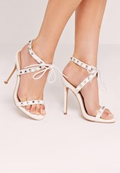 Missguided Studded Strap Barely There Sandal White White