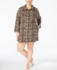 Miss Elaine Plus Size Plush Fleece Zip Front Short Robe Tan Black Leopard