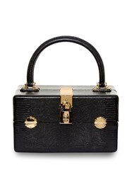 Dolce And Gabbana Vanity Lizard Effect Leather Bag Black