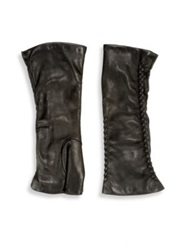 Saks Fifth Avenue Fingerless Leather Gloves Black