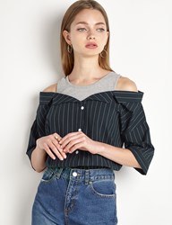 Pixie Market Tank Off The Shoulder Striped Shirt By New Revival
